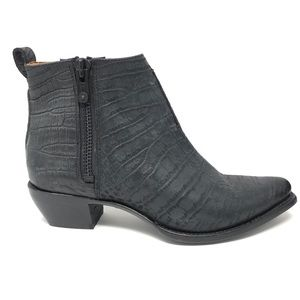Frye Sz 11 Sachs Ankle Boots Croc Embossed Black